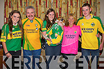 The Carlin family from Tiershanahan,Ballyheigue on Saturday night wore their county colours at their home. L-r:Niamh (Kerry), Tony (Donegal), Aoife,Sam the dog, margaret and Niall.