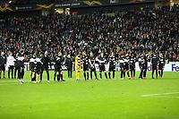 Siegesjubel Eintracht Frankfurt nach dem 4:1 gegen RB Leipzig - 20.02.2020: Eintracht Frankfurt vs. RB Salzburg, UEFA Europa League, Hinspiel Round of 32, Commerzbank Arena DISCLAIMER: DFL regulations prohibit any use of photographs as image sequences and/or quasi-video.