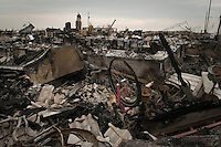 Debris from one hundred and ten houses burned to the ground during Hurricane Sandy in Breezy Point, Queens, New York.