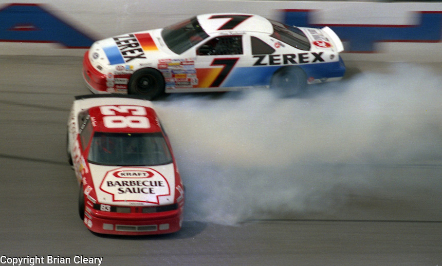 Alan Kulwicki Lake Speed 125 mile qualifying race crash at Daytona International Speedway on February  1989.  (Photo by Brian Cleary/www.bcpix.xom)
