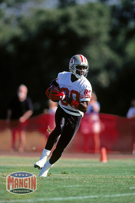 ROCKLIN, CA - Jerry Rice of the San Francisco 49ers in action during training camp at Sierra College in Rocklin, California in 1995. Photo by Brad Mangin