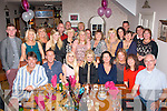 50 & FABULOUS: Kathryn Lucid Carroll, Ballyheigue (seated centre) got a super surprise for her 50th birthday when she went to Bella Bia, Tralee last Saturday night only to find a large gathering of family and friends inside waiting to celebrate with her including her sisters who came home from New York and London for the occasion.