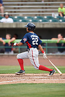 Potomac Nationals center fielder Blake Perkins (22) hits a single during the first game of a doubleheader against the Lynchburg Hillcats on June 9, 2018 at Calvin Falwell Field in Lynchburg, Virginia.  Lynchburg defeated Potomac 5-3.  (Mike Janes/Four Seam Images)