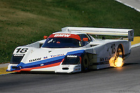The BMW GTP driven by Davy Jones and John Andretti during the 1986 IMSA GTP race at Road America near Elkhart Lake, Wisconsin.