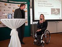 6-1-10, Rotterdam, Tennis, Persconferentie ABNAMROWTT, Toernooidirecteur Rolstoeltennis Esther Vergeer en Edward van Cuilenborg
