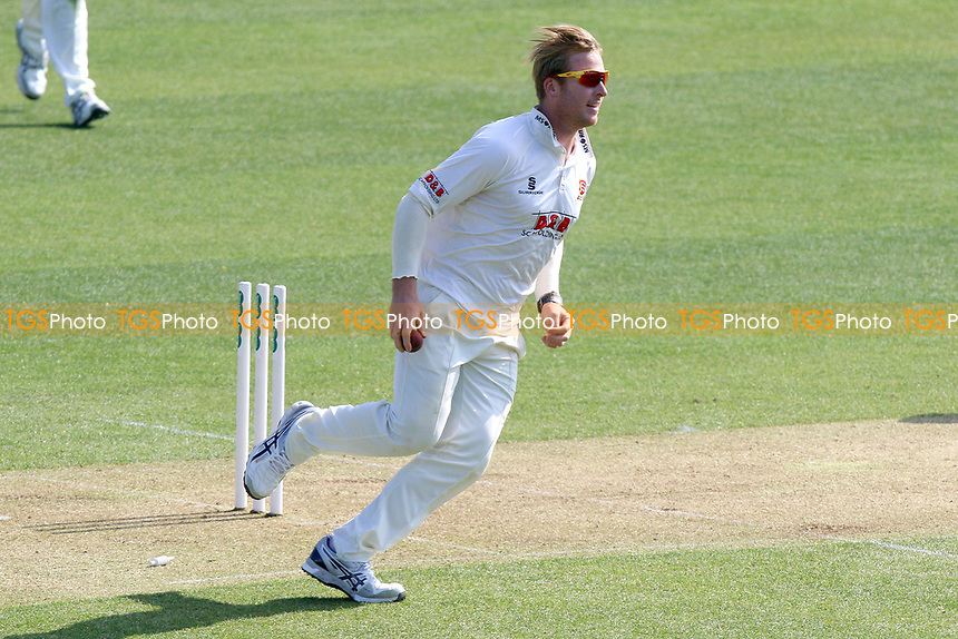 Simon Harmer of Essex completes the run out of Shivnarine Chanderpaul (out of picture) during Essex CCC vs Lancashire CCC, Specsavers County Championship Division 1 Cricket at The Cloudfm County Ground on 7th April 2017