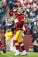 Landover, MD - December 30, 2018: Washington Redskins quarterback Josh Johnson (8) throws a pass during the  game between Philadelphia Eagles and Washington Redskins at FedEx Field in Landover, MD.   (Photo by Elliott Brown/Media Images International)