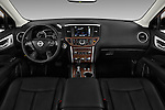 Stock photo of straight dashboard view of 2018 Nissan Pathfinder Platinum 5 Door SUV Dashboard