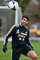 Thursday 20 March 2014<br /> Pictured:Alejandro Pozuelo<br /> Re: Swansea City Training at their Fairwood training facility, Swansea, Wales,UK