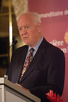 """Montreal (QC) CANADA, SEpt 29, 2008 -<br /> The Honourable John H. Gomery, Retired Judge, at the Canadian Club of Montreal's podium.<br /> <br /> Mr. Gomery's carreer started at the law<br /> firm Fasken, Martineau and Dumoulin in the areas of family law, commercial<br /> litigation and bankruptcy and became a partner there in 1966.<br />     In 1972, he was appointed QC and in 1982, to Quebec Superior Court<br /> Montreal district. From 1999 to 2005 he served as President of the Copyright<br /> Board of Canada (renewed in 2002).<br />     Mr. Gomery has also been involved in the Canadian Bar Association and<br /> Chambre des notaires du QuÈbec. He was also President of the ComitÈ GÈnÈral<br /> des Juges de la Cour supÈrieure du QuÈbec, President of the Family Law<br /> Committee from 1983 to 1993.<br />     On February 19, 2004 he was appointed Commissioner of Inquiry into the<br /> Sponsorship Program and Advertising Activities. In 2005, the Canadian Press<br /> named him """"Newsmaker of the Year"""". Time magazine also named him its """"Canadian<br /> Newsmaker of the Year."""""""