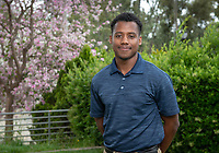 Dean's Award for Community recipient Rahsaan Middleton '19<br /> Photo taken April 30, 2019 outside Lower Herrick.<br /> (Photo by Marc Campos, Occidental College Photographer)