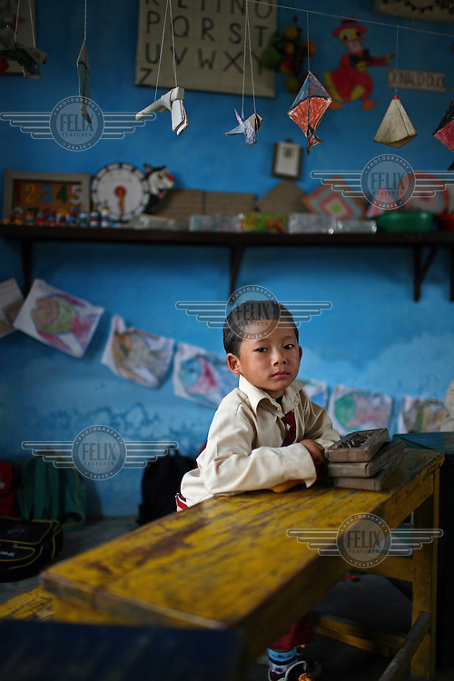Child at school in Kathmandu.