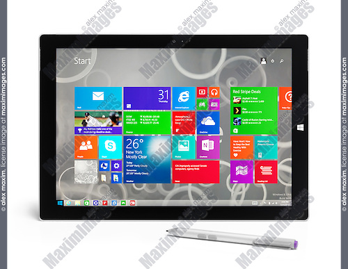 Microsoft Surface Pro 3 tablet computer with a pen isolated on white background with clipping path