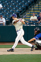 Tony Piazza of the Notre Dame (Scottsdale, AZ) Saints hits a first inning homerun in the state 4-A semi-final game against Arcadia High at Phoenix Municipal Stadium - 05/15/2009..Photo by:  Bill Mitchell/Four Seam Images