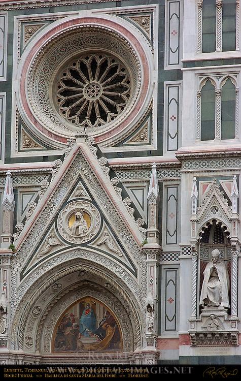 Lunette Tympanum Rosette Window Statue of St Antoninus Right Portal 19th c Facade Santa Maria del Fiore Florence