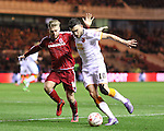 Adam Clayton of Middlesbrough challenging Robert Snodgrass of Hull City during the Sky Bet Championship League match at The Riverside Stadium.  Photo credit should read: Jamie Tyerman/Sportimage