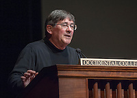 Award-winning writer and director Jesús Treviño '68 talks at Occidental College's Thorne Hall as part of the Core Distinguished Speaker Series, Monday, Nov. 12, 2012. (Photo by Marc Campos, Occidental College Photographer)