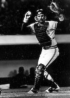A's catcher Bill Bathe (1986 photo by Ron Riesterer)