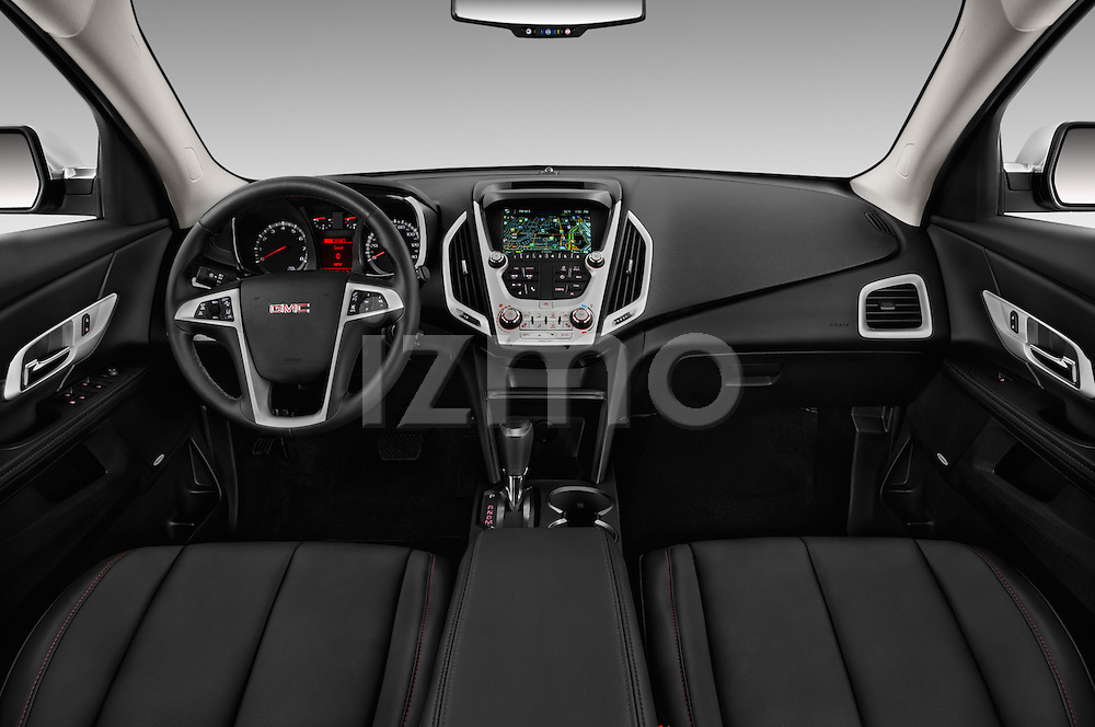 Stock photo of straight dashboard view of 2016 GMC Terrain SLT 5 Door SUV Dashboard