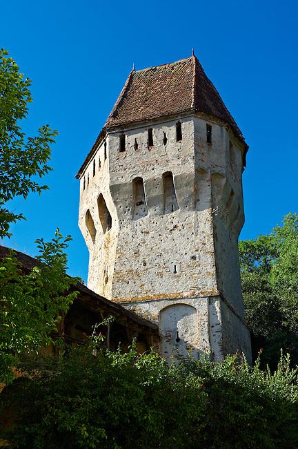 Defensive tower of Sighisoara Saxon fortified medieval citadel, Transylvania, Romania