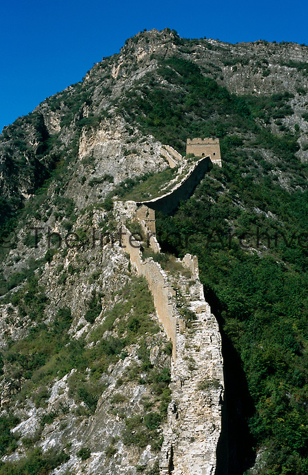 Part of the Great Wall of China constructed in the 14th century during the Ming Dynasty constructed along the precipitous Yan Shan mountain range
