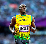 Engeland, London, 4 Augustus 2012.Olympische Spelen London.Finale 100 meter Mannen .Usain Bolt uit Jamaica wint de finale van de 100 meter