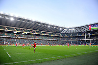 A general view of the pre-match warm-up. Aviva Premiership match, between Harlequins and Gloucester Rugby on December 27, 2016 at Twickenham Stadium in London, England. Photo by: Patrick Khachfe / JMP