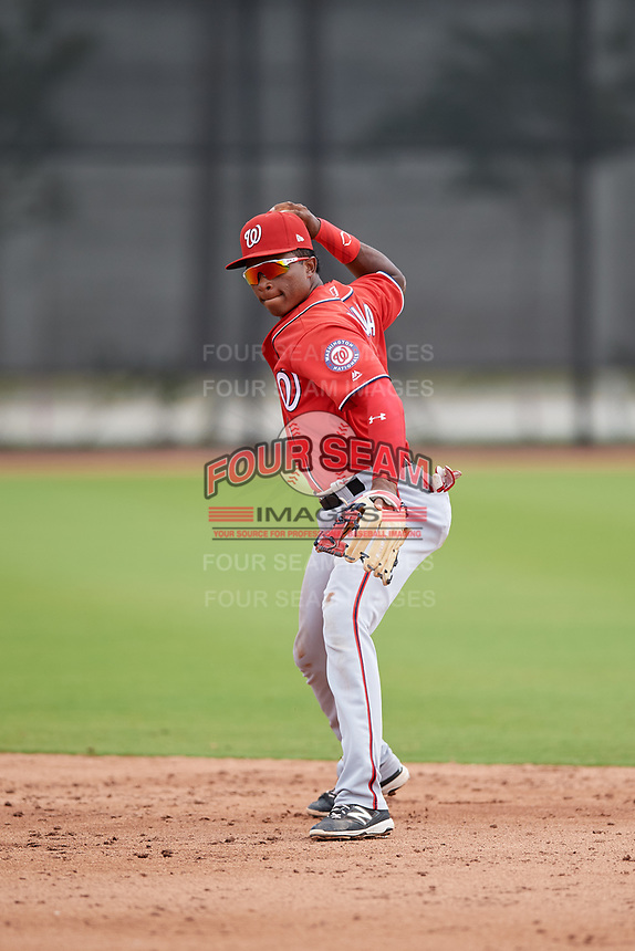Washington Nationals Yasel Antuna (5) during a Minor League Spring Training game against the Miami Marlins on March 28, 2018 at FITTEAM Ballpark of the Palm Beaches in West Palm Beach, Florida.  (Mike Janes/Four Seam Images)