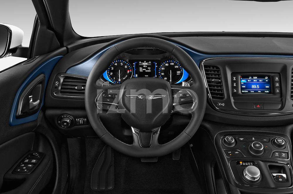 Car pictures of steering wheel view of a 2015 Chrysler 200 S 4 Door Sedan 2WD Steering Wheel