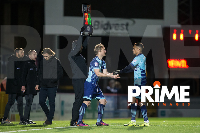 Craig Mackail-Smith of Wycombe Wanderers replaces Paris Cowan-Hall of Wycombe Wanderers during the Sky Bet League 2 match between Wycombe Wanderers and Yeovil Town at Adams Park, High Wycombe, England on 25 November 2017. Photo by Andy Rowland.