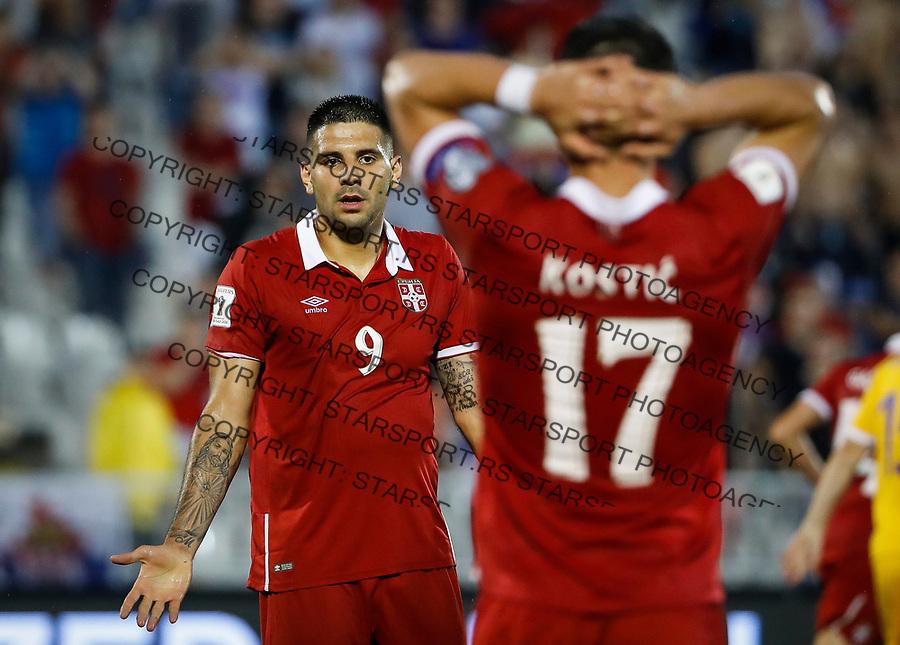 Fudbalski Savez Srbije<br /> Kvalifikacije za World Cup FIFA Russia 2018<br /> Srbija v Moldavija<br /> Aleksandar Mitrovic (L) and Filip Kostic<br /> Beograd, 02.09.2017.<br /> foto: Srdjan Stevanovic/Starsportphoto &copy;