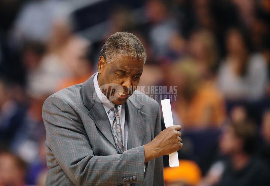 Jan. 26, 2011; Phoenix, AZ, USA; Charlotte Bobcats head coach Paul Silas against the Phoenix Suns at the US Airways Center. The Bobcats defeated the Suns 114-107. Mandatory Credit: Mark J. Rebilas-