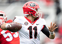 Athens, Georgia - April 20, 2019: Sanford Stadium, Spring Football Practice for the University of Georgia.  Final score UGA Red Team 22, UGA black Team 17.