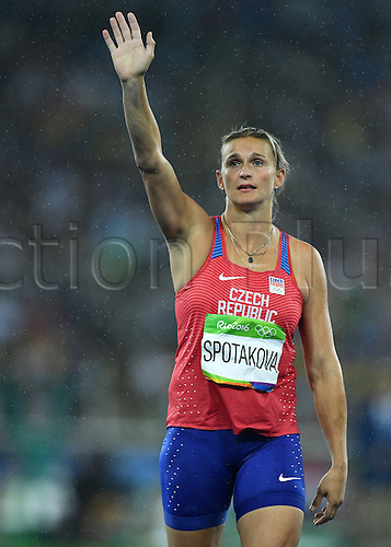 18.08.2016. Rio de Janeiro, Brazil. Barbora Spotakova of Czech Republic celebrates after the Women's Javelin Throw Final of the Olympic Games 2016 Athletic, Track and Field events at Olympic Stadium during the Rio 2016 Olympic Games in Rio de Janeiro, Brazil, 18 August 2016.