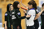 (L to R) Yumie Funayama, Ayumi Ogasawara,(Fortius), Miyo Ichikawa (Chuden), SEPTEMBER 17, 2013 - Curling : Olympic qualifying Japan Curling Championships Women's Final forth Mach between Fortius 8-5 Chuden at Dogin Curling Studium, Sapporo, Hokkaido, Japan. (Photo by Yusuke Nakanishi/AFLO SPORT)
