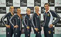 Moskou, Russia, Februari 4, 2016,  Fed Cup Russia-Netherlands,  Draw Ceremony, Dutch Team l.t.r.: Arantxa Rus, Cindy Burger, Richel Hogenkamp, Kiki Bertens and Captain Paul Haarhuis<br /> Photo: Tennisimages/Henk Koster