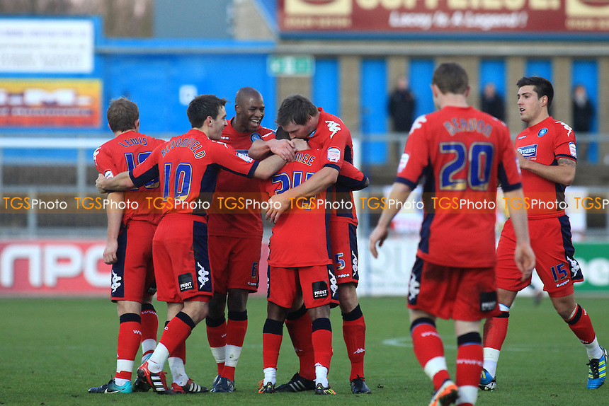 Wycombe players congratulate Anthony McNamee after he scored Wycombe's first goal at Carlisle - Carlisle United vs Wycombe Wanderers - nPower League One Football at Brunton Park Stadium, Carlisle, Cumbria - 17/12/11 - MANDATORY CREDIT: Paul Dennis/TGSPHOTO - Self billing applies where appropriate - 0845 094 6026 - contact@tgsphoto.co.uk - NO UNPAID USE.