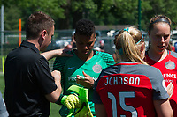 Kansas City, MO - Saturday May 13, 2017:  Mark Parsons, Adrianna Franch,prior to a regular season National Women's Soccer League (NWSL) match between FC Kansas City and the Portland Thorns FC at Children's Mercy Victory Field.