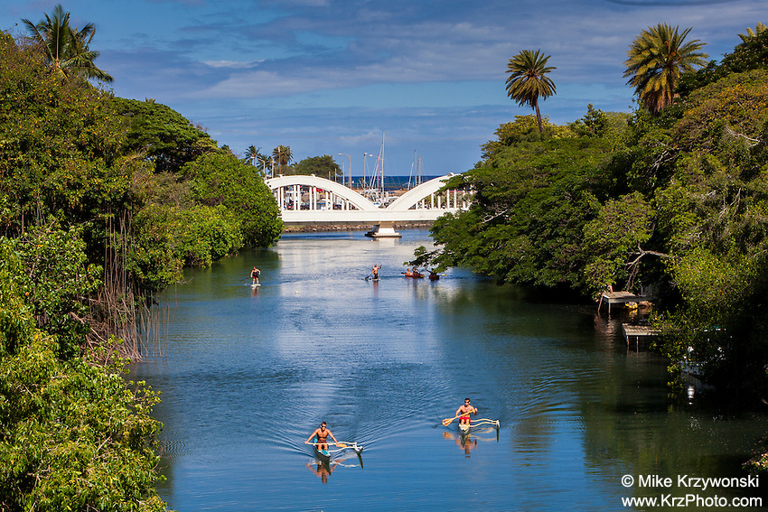 Kayaking & stand-up paddleboarding in the Anahulu Stream, Haleiwa, North Shore, Oahu, Hawaii