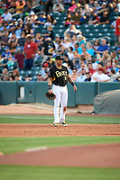Jefry Marte (24) of the Salt Lake Bees on defense against the Albuquerque Isotopes in Pacific Coast League action at Smith's Ballpark on June 10, 2017 in Salt Lake City, Utah. The Isotopes defeated the Bees 4-2. (Stephen Smith/Four Seam Images)