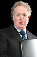 Quebec Premier Jean Charest talks at the Federation of Canadian Municipalities (FCM) congress in Quebec city Sunday June 1, 2008.<br /> <br /> PHOTO :  Francis Vachon - Agence Quebec Presse