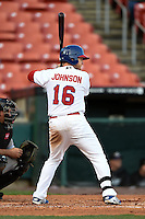 Buffalo Bisons designated hitter Dan Johnson (16) at bat during a game against the Louisville Bats on April 29, 2014 at Coca-Cola Field in Buffalo, New  York.  Buffalo defeated Louisville 4-1.  (Mike Janes/Four Seam Images)