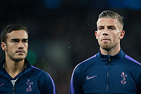 Toby Alderweireld (right) & Harry Winks of Spurs before the UEFA Champions League group match between Tottenham Hotspur and Bayern Munich at Wembley Stadium, London, England on 1 October 2019. Photo by Andy Rowland.