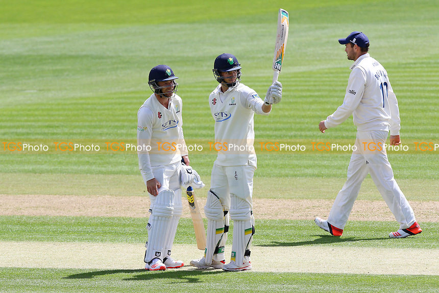 Craig Meschede (C) celebrates scoring a half-century, 50 runs for Glamorgan - Glamorgan CCC vs Essex CCC - LV County Championship Division Two Cricket at the SWALEC Stadium, Sophia Gardens, Cardiff, Wales - 19/05/15 - MANDATORY CREDIT: TGSPHOTO - Self billing applies where appropriate - contact@tgsphoto.co.uk - NO UNPAID USE