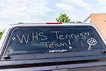 WATERTOWN, CT. 04 June 2020-060420BS223 - Parents and coaches cars are decorated with messages congratulating the seniors of the Watertown Girls Tennis team as they get ready to drive by each of the seniors homes in a Girls Tennis Team car parade on Thursday. Bill Shettle Republican-American
