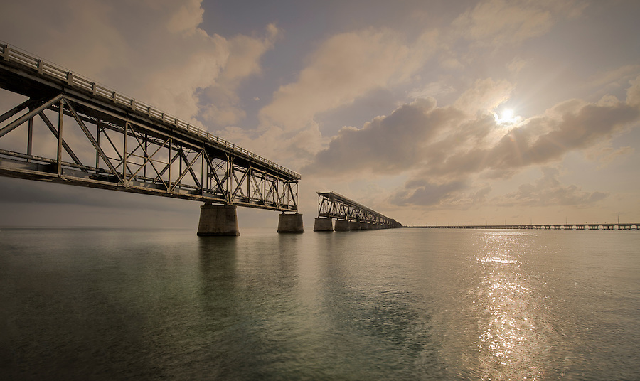 View of the Bahia Honda bridge in the Florida Keys.