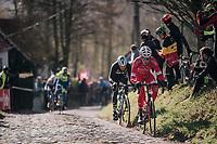Kenneth Vanbilsen (BEL/Cofidis) leading up the Molenberg (cobbles)<br /> <br /> Omloop Het Nieuwsblad 2018<br /> Gent › Meerbeke: 196km (BELGIUM)