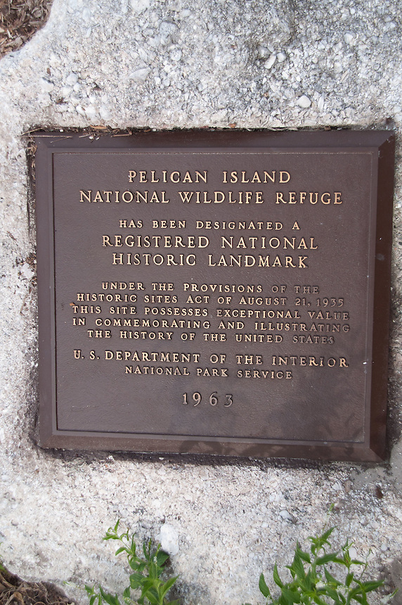 National Historic Landmark Sign, Pelican Island National Wildlife Refuge, Vero Beach, Florida, US