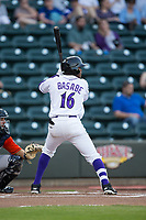 Luis Alexander Basabe (16) of the Winston-Salem Dash at bat against the Buies Creek Astros at BB&T Ballpark on April 13, 2017 in Winston-Salem, North Carolina.  The Dash defeated the Astros 7-1.  (Brian Westerholt/Four Seam Images)