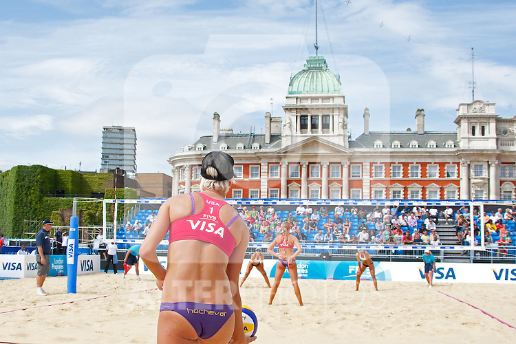 10.08.2011, Horse Guards Parade, London, GBR, FIVB International London im Bild Brittany Hochevar & Lisa Rutledge (USA) vs Liliane Maestrini & Angela Vieira (BRA) during the FIVB International Beach Volleyball tournament, part of the London prepares (LOCOG) 2012 Olympic test events held at Horse Guards Parade, Westminster, London, EXPA Pictures © 2011, PhotoCredit: EXPA/ M. Gunn